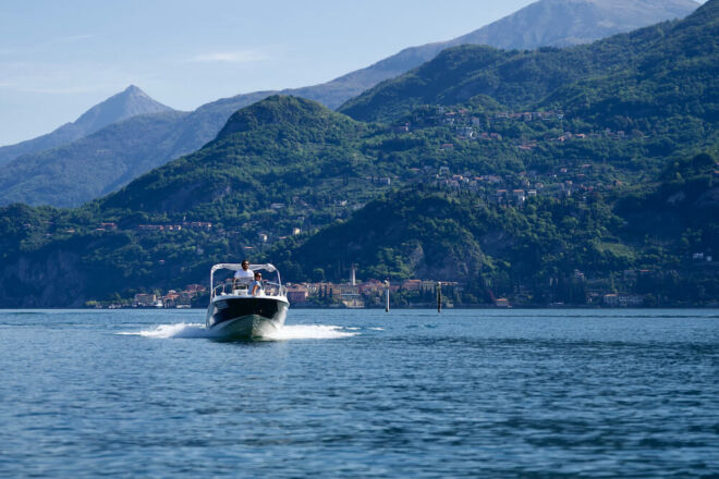 Boat of Bellagio rent a boat surfing on Lake Como